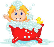Girl cartoon bathing in the red bath tub Royalty Free Stock Photo