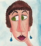 Girl cartoon character. avatar. Artwork, ink and watercolors on paper Royalty Free Stock Image