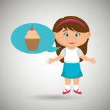 girl cartoon cup cake Royalty Free Stock Images