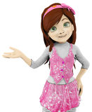 Girl cartoon demonstrating Stock Images
