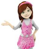Girl cartoon demonstrating Stock Images
