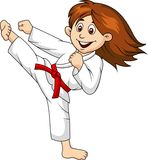 Girl cartoon  doing martial art Stock Images