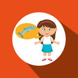 Girl cartoon food fish fresh Royalty Free Stock Images