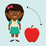 girl cartoon fruit apple red Royalty Free Stock Photo