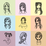 Girl cartoon illustration,Cartoon woman illustration from line drawings Royalty Free Stock Photo