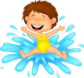 Girl cartoon jumping to the water Stock Photography