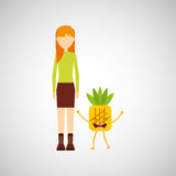 Girl cartoon and pineapple cute fruit icon. Vector illustration eps 10 Stock Image