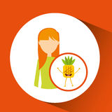 Girl cartoon and pineapple cute fruit icon. Vector illustration eps 10 Stock Photography