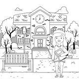 Girl cartoon of school design stock illustration