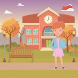 Girl cartoon of school design. Girl cartoon design, School education learning knowledge study and class theme Vector illustration vector illustration