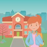 Girl cartoon of school design. Girl cartoon design, School education learning knowledge study and class theme Vector illustration royalty free illustration