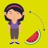 Girl cartoon sliced watermelon. Illustration eps 10 Stock Photos