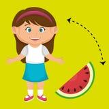 Girl cartoon sliced watermelon. Illustration eps 10 Royalty Free Stock Photography