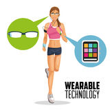 Girl cartoon and wearable technology design Royalty Free Stock Images