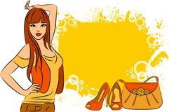 Girl with cartoon woman's bag and shoes. Royalty Free Stock Images