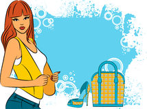 Girl with cartoon woman's bag and shoes Royalty Free Stock Photos