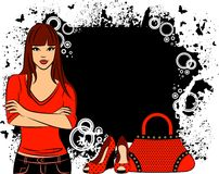 Girl with cartoon woman's bag and shoes. Stock Photography
