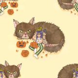 Girl Carving Pumpkin with Cat and Bird Background. Halloween Illustration stock illustration