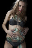 The girl and the cash Royalty Free Stock Photo