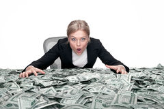 Girl and the cash Royalty Free Stock Photos
