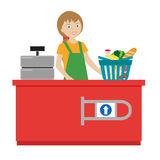 The girl cashier in a grocery supermarket. Cart full of products. Cash machine. Store employee. Flat character isolated Royalty Free Stock Image