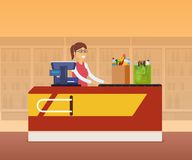Girl cashier staff behind the counter of cash register. Girl cashier staff behind the counter of cash register, pierces goods, products on background of store stock illustration