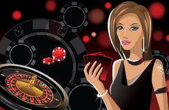 Girl in casino. An illustration of a girl in a casino Stock Images