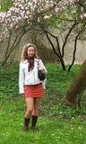 Girl in castle garden Stock Photo