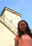 Girl on Castle Karlstejn Royalty Free Stock Photos