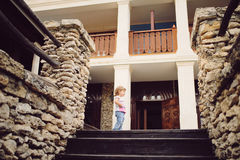 Girl on Castle Porch Stock Photo