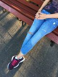Girl In Casual Outfit Relaxing On Bench Stock Images