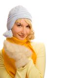 Girl in casual winter. Beautiful blond girl in casual winter clothing over white background Royalty Free Stock Photo