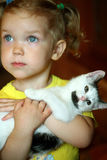 Girl and cat Royalty Free Stock Photos
