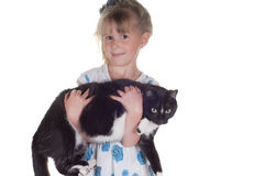Girl and cat Stock Photography