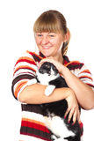 Girl with the cat Stock Images