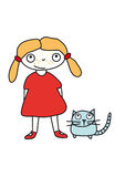 Girl_with_cat Fotografia Stock