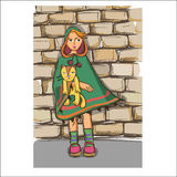 Girl and cat Royalty Free Stock Images