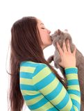 Girl and a cat. Stock Photo