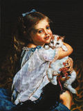 Girl with cat. Oil on canvas royalty free stock photography