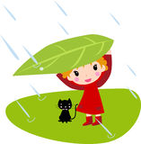 Girl and cat. Illustration art Royalty Free Stock Image