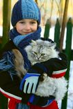 The girl and a cat Stock Photography