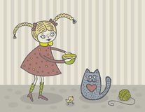 Girl and cat. Cute girl feeding kitty. Hand drawn illustration Stock Photography