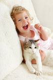Girl with cat Stock Photography