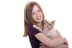 Girl and cat. A girl holds her cat in the arms Stock Images