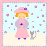 Girl with a cat. Little girl with a gray cat on a patchwork backround - illustration Stock Photos