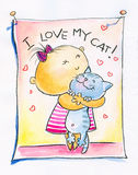 Girl with cat. Illustration of small girl hugging her cat.Picture I have created with watercolors Stock Photo