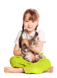 Girl with a cat. Happy cute five year old girl  with her cat, isolated against white background Stock Photography