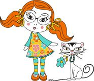 Girl and Cat. Image representing a girl and cat, isolated on white, vector design Stock Images