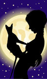 Girl and cat. In the night Stock Image
