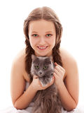 Girl with a cat Stock Images